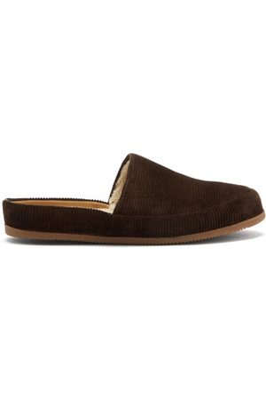 Mulo Men Slippers - Shearling-lined Cotton-corduroy Slippers - Mens - Dark