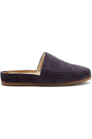 Mulo Men Slippers - Shearling-lined Corduroy Slippers - Mens - Navy