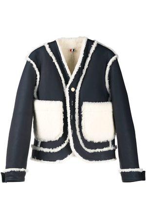 Thom Browne Women Leather Jackets - Reversible shearling drop-shoulder jacket