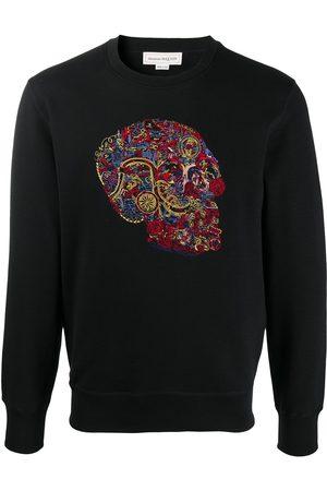 Alexander McQueen Men Sweatshirts - Skull-embroidered sweatshirt