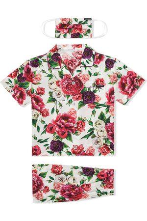 Dolce & Gabbana Peony-print pyjama set with matching face mask