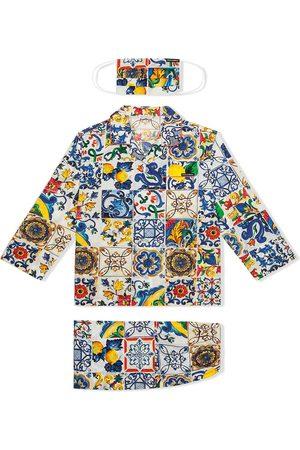 Dolce & Gabbana Majolica-print pyjama set with matching face mask