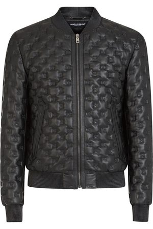 Dolce & Gabbana DG embroidery leather jacket