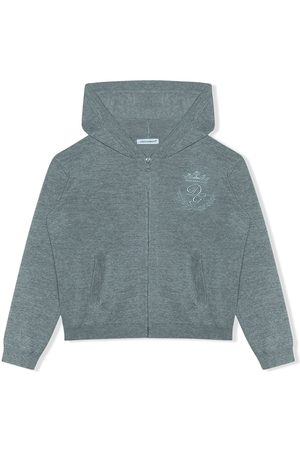 Dolce & Gabbana Logo-embroidered zip-front hoodie - Grey
