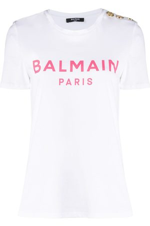 Balmain Logo-print button-detail T-shirt