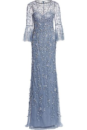 THEIA Women's Flounce-Sleeve 3-D Embroidered Gown - - Size 4