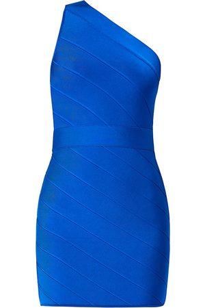 Hervé Léger Icon One-Shoulder Asymmetric Mini Dress - - Size XXS
