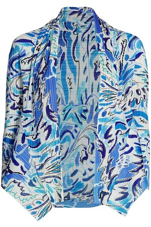 PLEATS PLEASE ISSEY MIYAKE Women's Playing Print Cardigan - - Size 3 (Small/Medium)