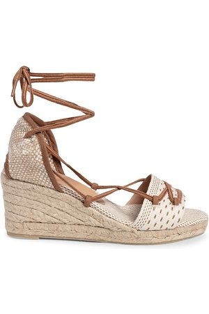 Castaner Women Wedges - Women's Becky Linen Espadrille Wedge Sandals - Marron - Size 8