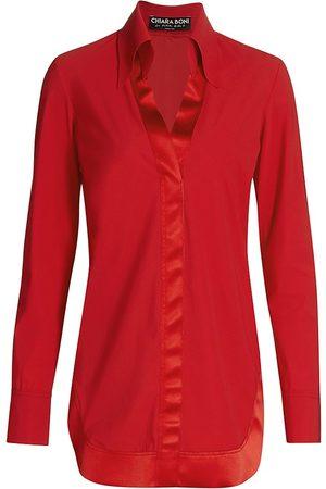 CHIARA BONI Women's Mias Ramie Satin-Trimmed Collar V-Neck Tunic - - Size 42 (6)