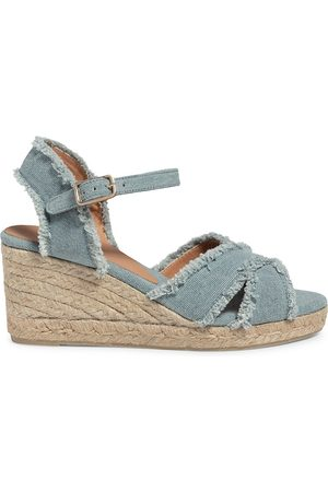 Castaner Women Wedge Sandals - Women's Bromelia Canvas Platform Espadrille Wedges - Water - Size 9