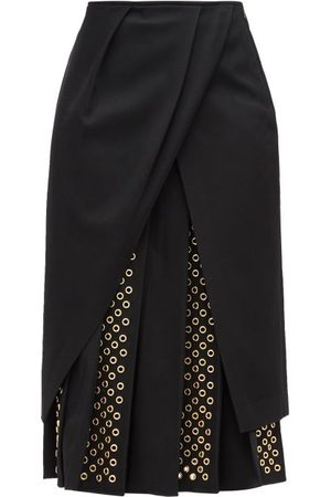 DUNCAN Women Midi Skirts - George Pleated Eyelet-panel Twill Midi Skirt - Womens
