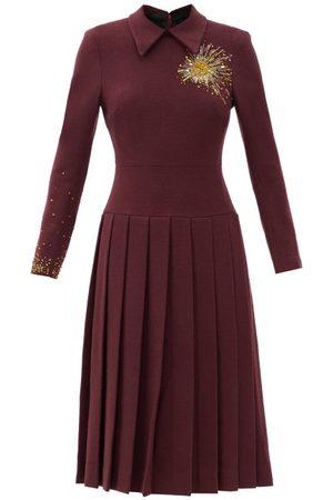 DUNCAN Alchemist Bleeding Heart Beaded Wool-blend Dress - Womens - Burgundy