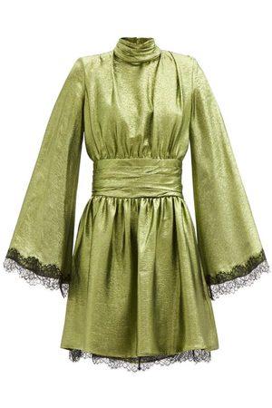 Dundas Wide-sleeve Lace-trimmed Silk-blend Lamé Dress - Womens