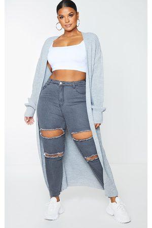 PRETTYLITTLETHING Plus Light Grey Maxi Knitted Cardigan