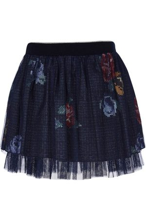 Lapin House Printed tulle-trimmed mini skirt