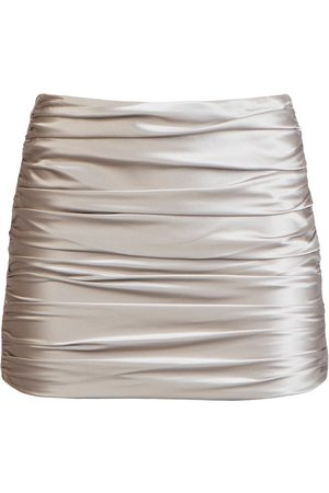 Michelle Mason Ruched silk mini skirt - Neutrals