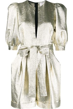 Stella McCartney Women Playsuits - Metallic glitter half-sleeves playsuit