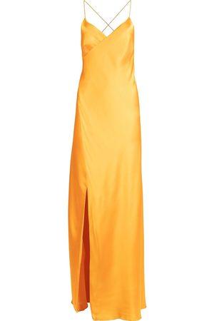 Michelle Mason Silk front-slit maxi gown