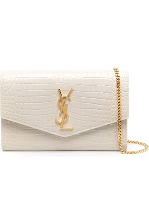 Saint Laurent Uptown crocodile-embossed chain wallet - Neutrals