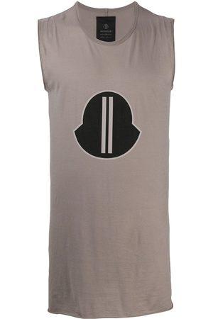 Moncler + Rick Owens Men Tank Tops - Logo-print tank top - Neutrals