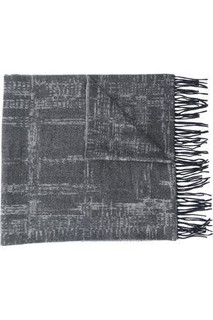 Ermenegildo Zegna Men Scarves - Checkered fringed scarf - Grey