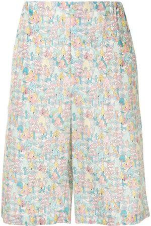 Gucci Cartoon-print wide-leg shorts