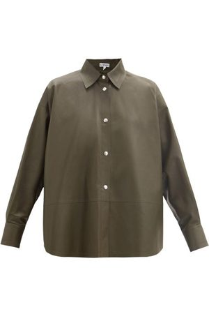 Loewe Relaxed Nappa-leather Shirt - Womens - Dark