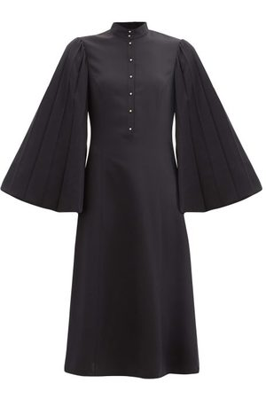 Loewe Pleated Angel-sleeve Silk-blend Dress - Womens - Navy