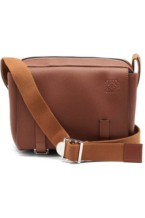 Loewe Anagram-logo Grained-leather Messenger Bag - Mens - Tan