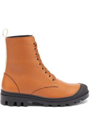 Loewe Logo-trim Leather Boots - Womens - Tan