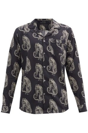 Desmond & Dempsey Sansido Tiger-print Cotton Pyjama Shirt - Mens - Multi