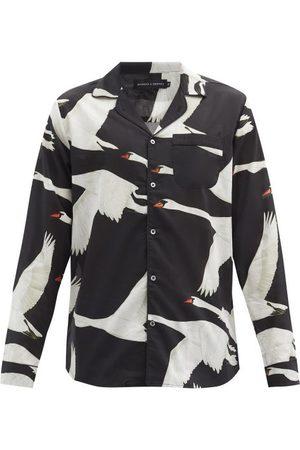 Desmond & Dempsey Swan-print Organic-cotton Pyjama Shirt - Mens