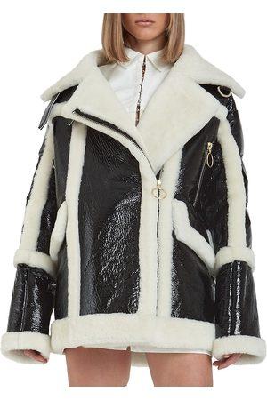 Nicole Benisti Women Puffer Jackets - Women's Montmartre Shearling Aviator Down Puffer-Back Jacket - - Size Small