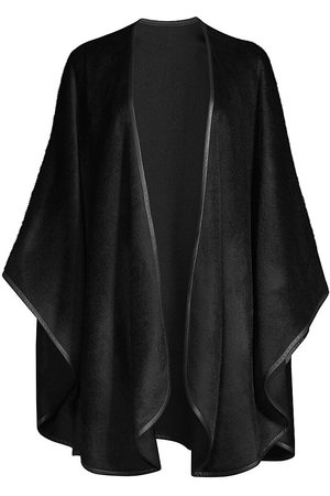 Sofia Cashmere Women's Leather-Trim Alpaca-Blend Cape