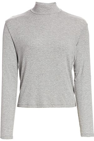 Splendid Women Sports T-shirts - Women's Heathered Mockneck Top - Heather Grey - Size XS