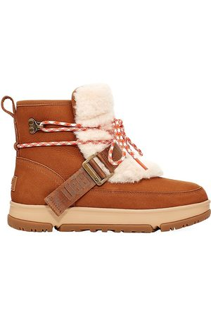 UGG Women's Classic Weather Faux Fur-Trimmed Leather Hiking Boots - - Size 7.5