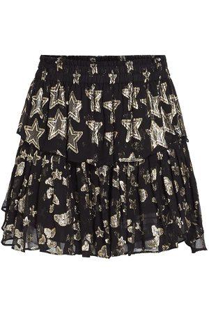 LOVESHACKFANCY Women's Metallic Star Ruffle Mini Skirt - - Size Large