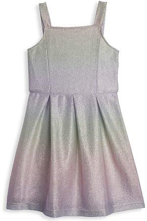 Pippa & Julie Girl's Pleated Metallic Pastel Striped Knit Dress