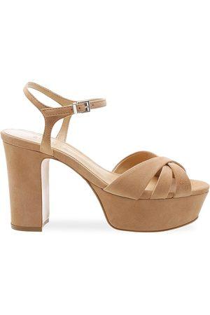Schutz Women Platform Sandals - Women's Keefa Leather Platform Sandals - Honey - Size 10.5