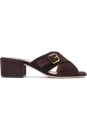 Sergio Rossi Woman Buckled Suede Mules Dark Size 35
