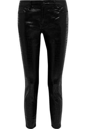 Frame Women High Waisted - Woman Le High Skinny Cropped Croc-effect Mid-rise Skinny Jeans Size 23