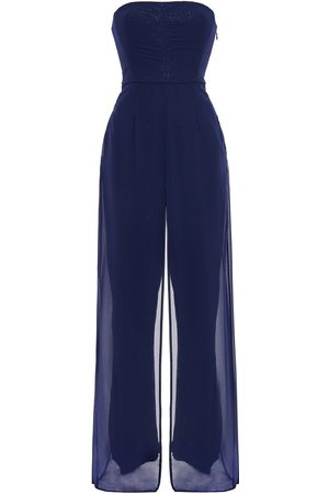 Halston Heritage Woman Strapless Layered Chiffon And Sequined Mesh Jumpsuit Navy Size 8