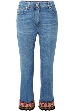 Etro Women High Waisted - Woman Embellished High-rise Kick-flare Jeans Mid Denim Size 32