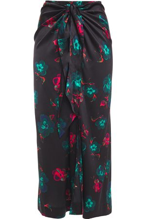 Ganni Woman Tie-front Printed Stretch-silk Satin Midi Skirt Size 32