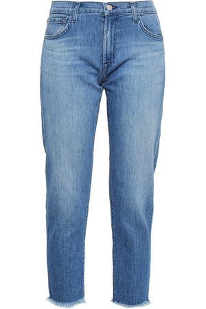 J Brand Woman Sadey Cropped Jacquard-trimmed Mid-rise Slim-leg Jeans Mid Denim Size 26