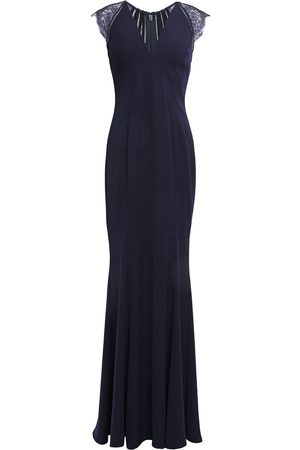 Catherine Deane Woman Melissa Lace-paneled Lattice-trimmed Cady Gown Navy Size 10
