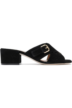 Sergio Rossi Woman Buckled Suede Mules Size 35