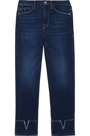 Frame Woman Le Nouveau Straight Cropped Frayed High-rise Straight-leg Jeans Dark Denim Size 23