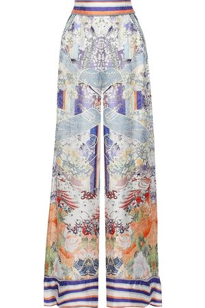Camilla Woman Crystal-embellished Printed Satin-jacquard Wide-leg Pants Sky Size XS
